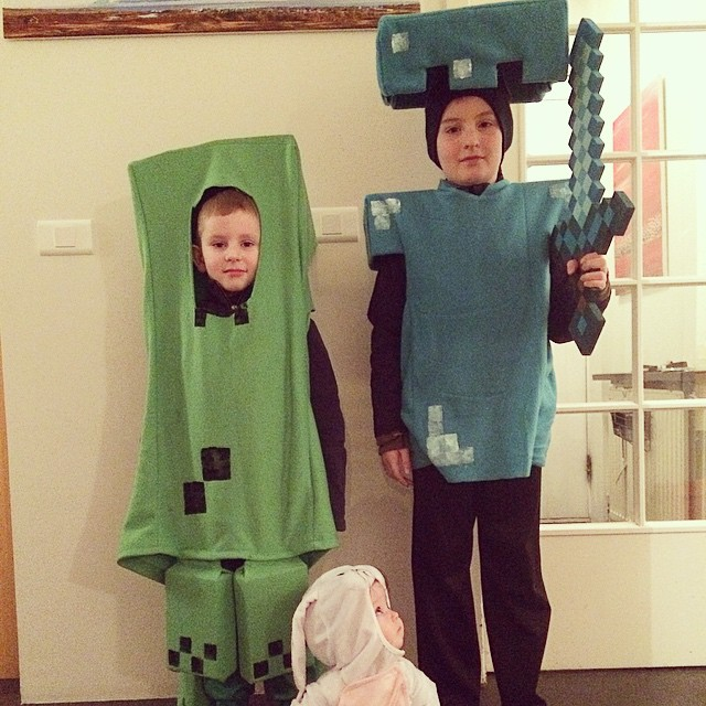 Minecraft costume creeper and diamond armor Steve