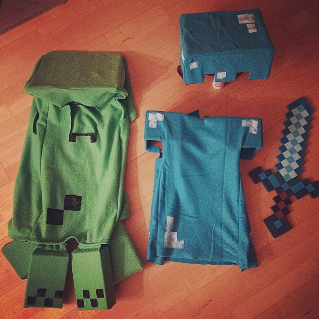 Minecraft costume, Creeper and Diamond Armor Steve